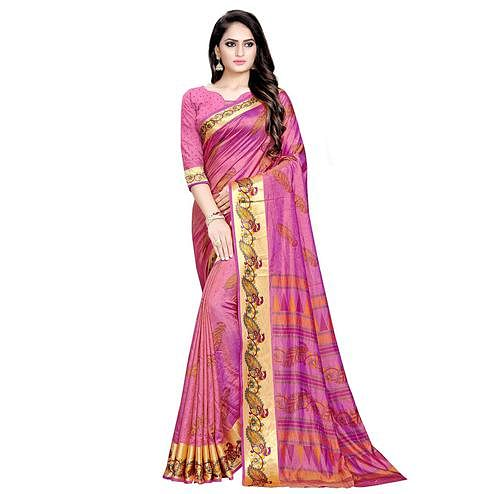 Intricate Pink Colored Festive Wear Art Silk Saree