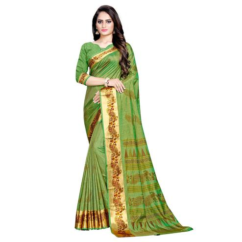 Arresting Parrot Green Colored Festive Wear Art Silk Saree