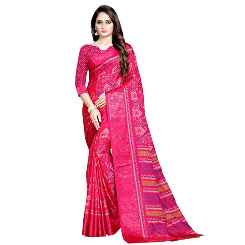 Desirable Pink Colored Casual Wear Printed Art Silk Saree