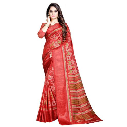 Exotic Red Colored Casual Wear Printed Art Silk Saree
