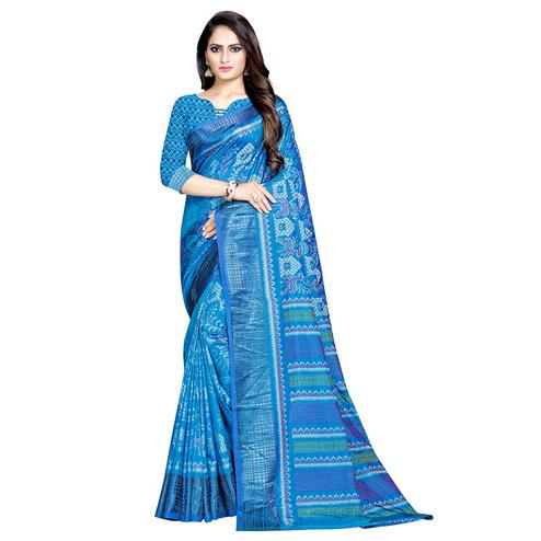 Sophisticated Blue Colored Casual Wear Printed Art Silk Saree
