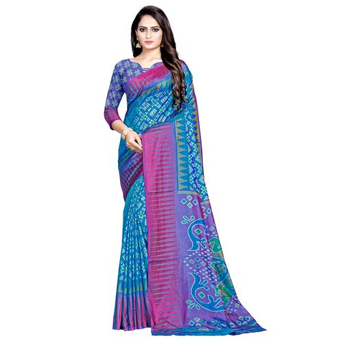 Elegant Sky Blue Colored Casual Wear Printed Art Silk Saree