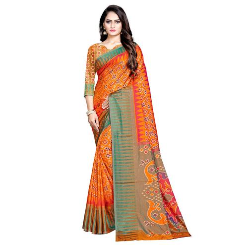 Radiant Orange Colored Casual Wear Printed Art Silk Saree