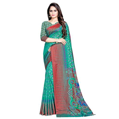 Opulent Green Colored Casual Wear Printed Art Silk Saree