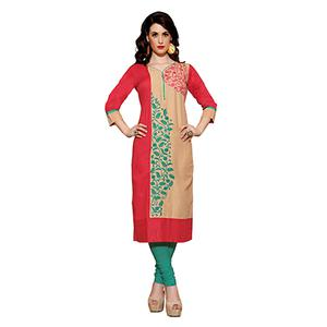 Red - Beige Floral Embroidered Kurti