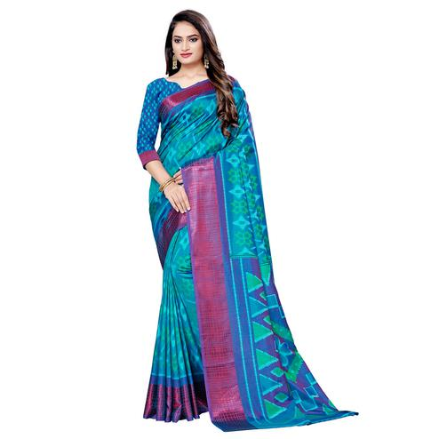Exceptional Sky Blue Colored Casual Wear Printed Art Silk Saree