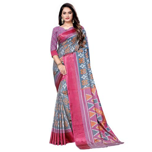 Gleaming Grey Colored Casual Wear Printed Art Silk Saree