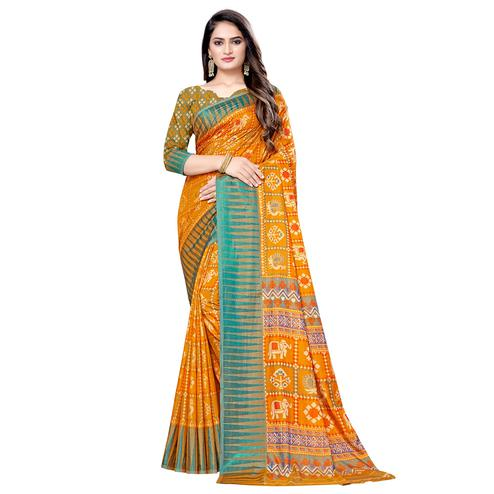 Mesmeric Mustard Yellow Colored Casual Wear Printed Art Silk Saree