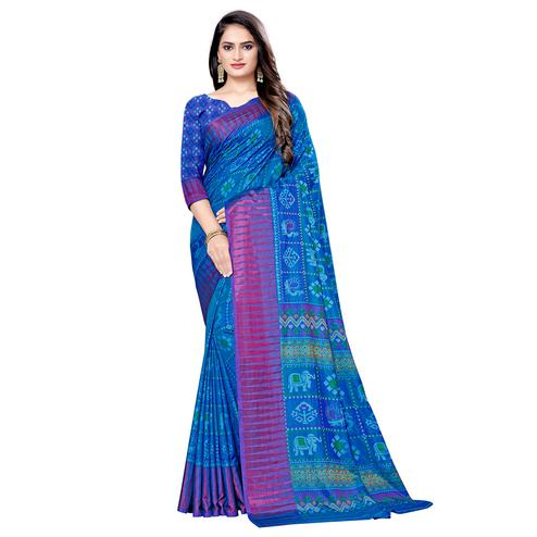 Unique Blue Colored Casual Wear Printed Art Silk Saree