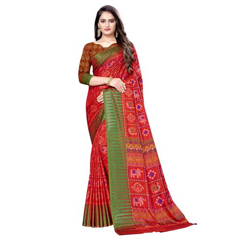 Demanding Red Colored Casual Wear Printed Art Silk Saree