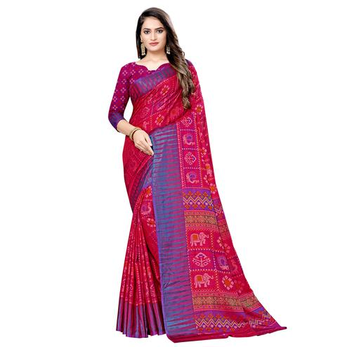 Refreshing Pink Colored Casual Wear Printed Art Silk Saree