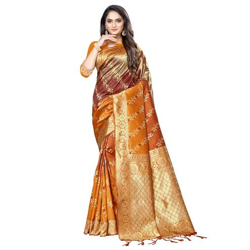 Hypnotic Orange Colored Festive Wear Woven Silk Saree