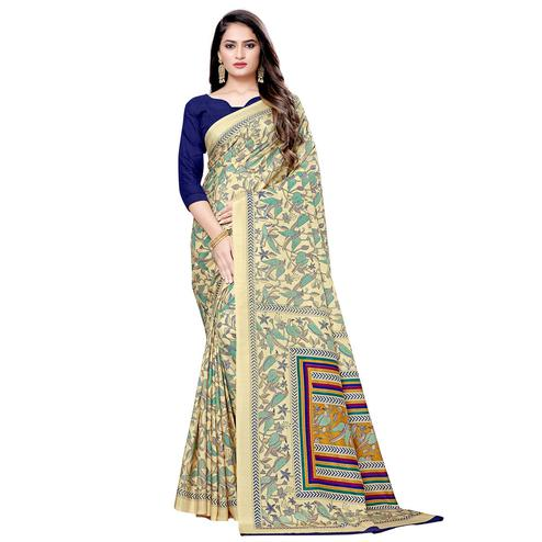 Preferable Cream Colored Casual Printed Silk Saree