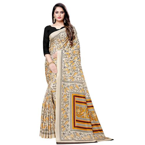 Marvellous Beige Colored Casual Printed Silk Saree