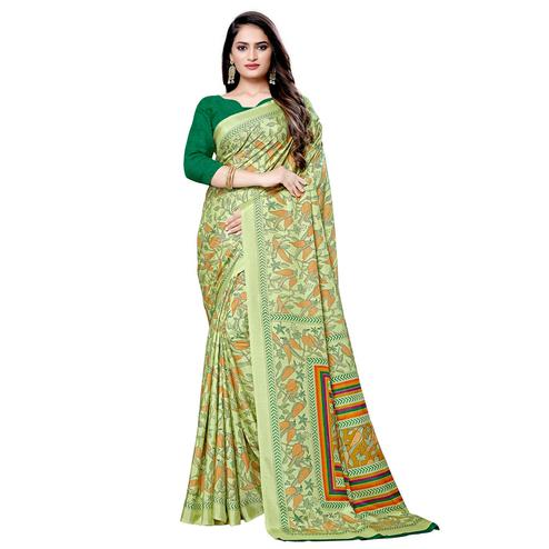 Flamboyant Green Colored Casual Printed Silk Saree