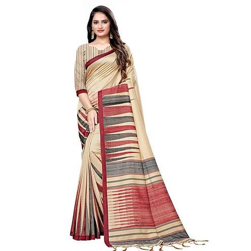 Alluring Beige Colored Casual Printed Pashmina Silk Saree