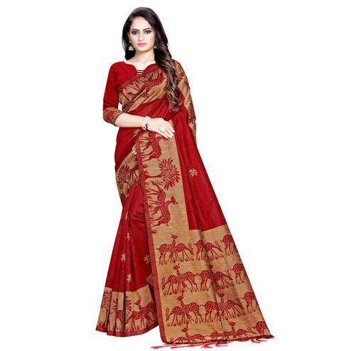 Stunning Maroon Colored Casual Printed Cotton Saree