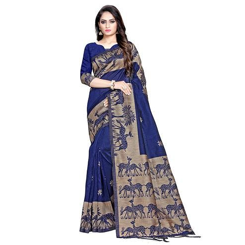 Flirty Navy Blue Colored Casual Printed Cotton Saree