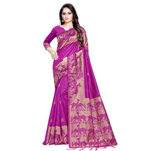 Classy Magenta Colored Casual Printed Cotton Saree