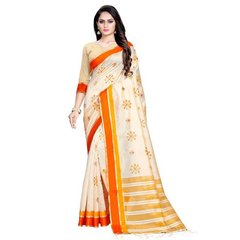 Prominent Cream-Orange Colored Casual Printed Cotton Silk Saree