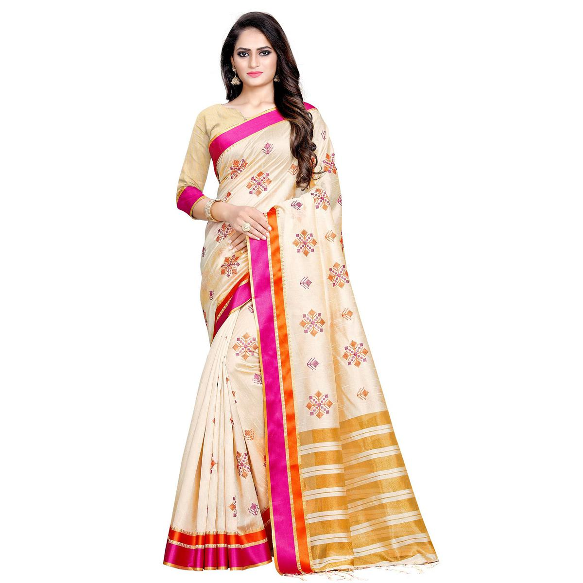 Capricious Cream-Pink Colored Casual Printed Cotton Silk Saree