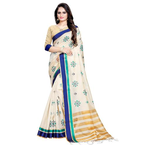 Entrancing Cream-Navy Blue Colored Casual Printed Cotton Silk Saree