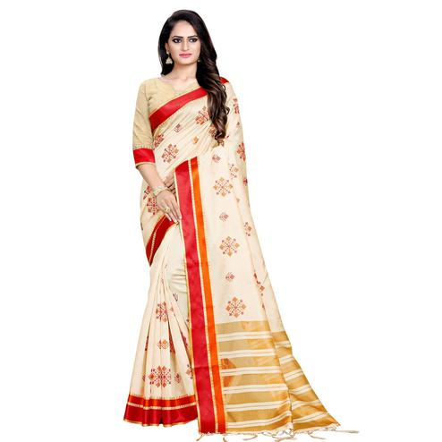 Groovy Cream-Red Colored Casual Printed Cotton Silk Saree