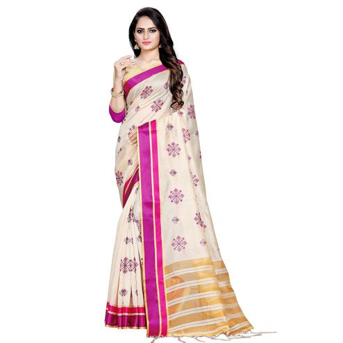 Adorning Cream-Dark Pink Colored Casual Printed Cotton Silk Saree