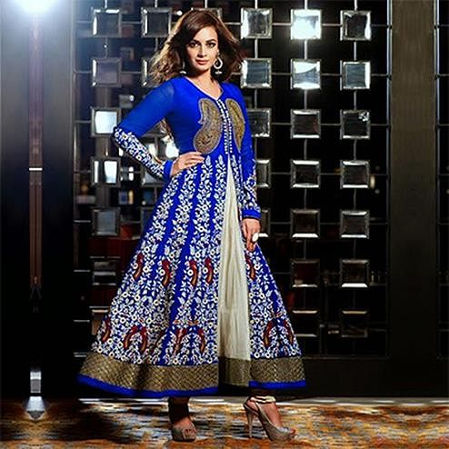 Royal Blue Brasso Heavy Embroidered Anarkali Suit