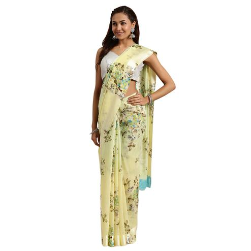 Glorious Yellow Colored Casual Printed Linen Saree