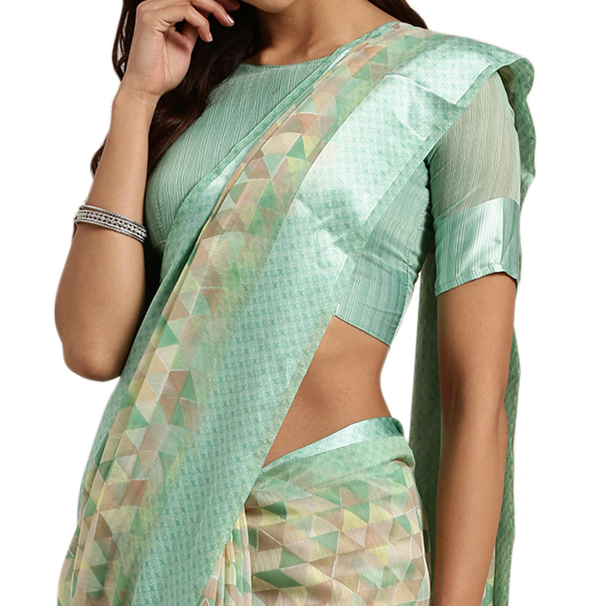 Attractive Sea Green Colored Casual Printed Linen Saree