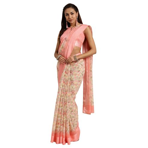 Graceful Peach Colored Casual Printed Linen Saree