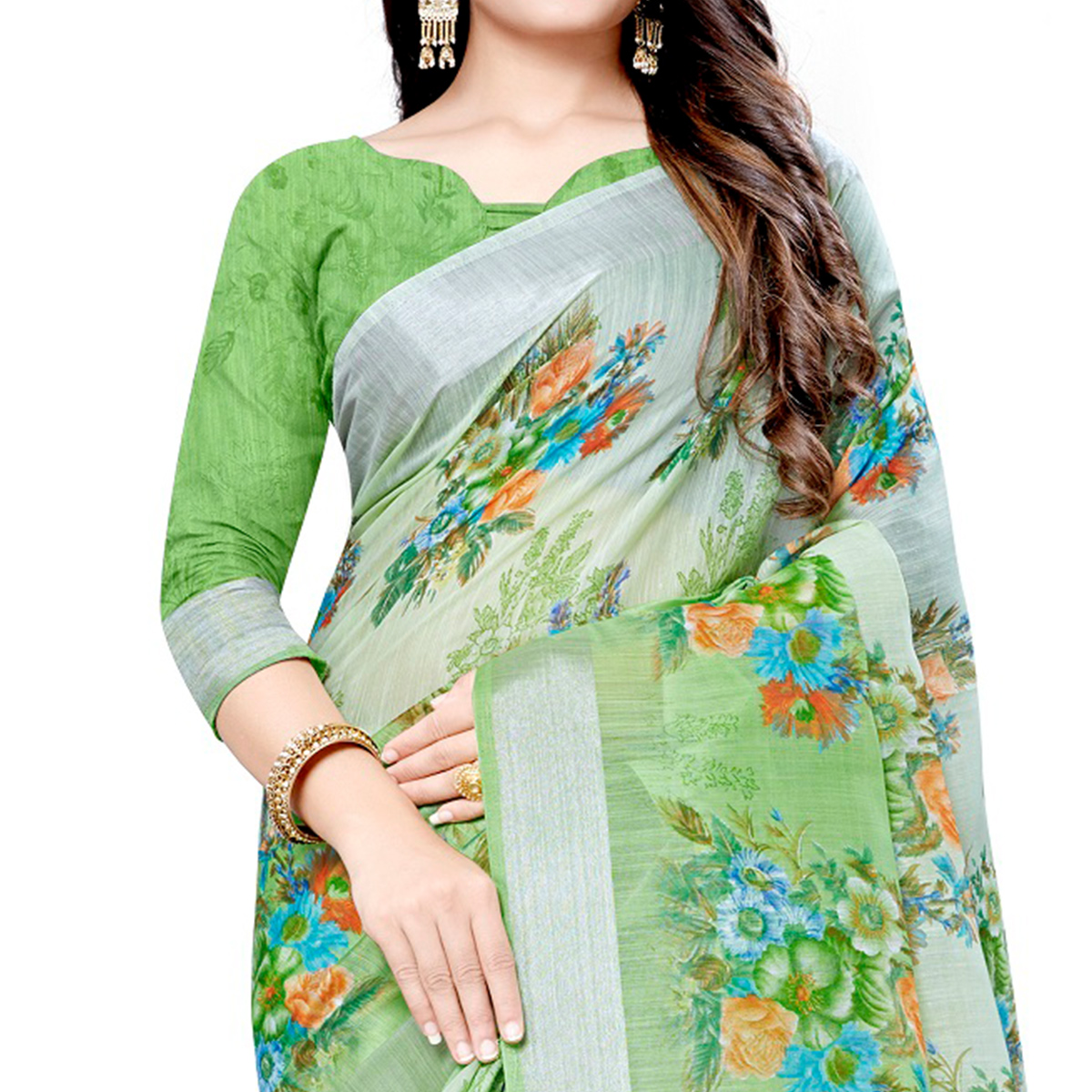Delightful Green Colored Casual Floral Printed Linen Saree