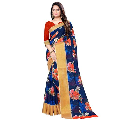 Engrossing Navy Blue Colored Casual Floral Printed Linen Saree