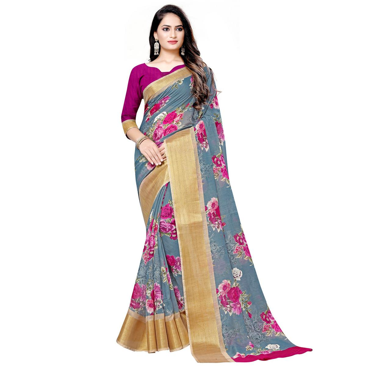 Captivating Grey Colored Casual Floral Printed Linen Saree
