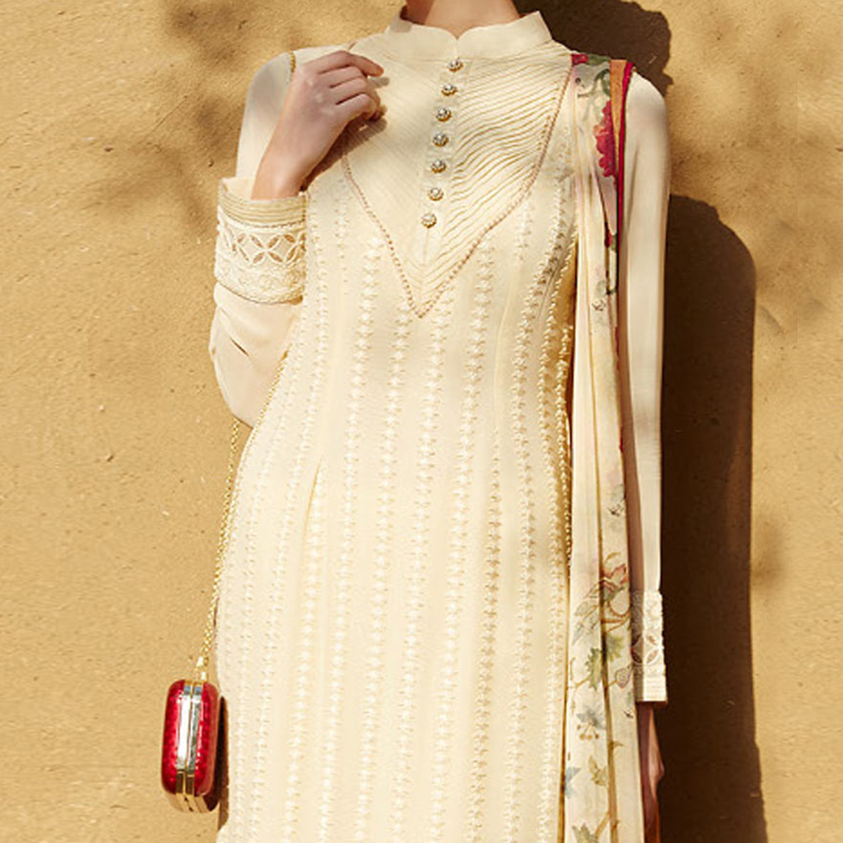 Cream Tonal Straight Cut Salwar Suit