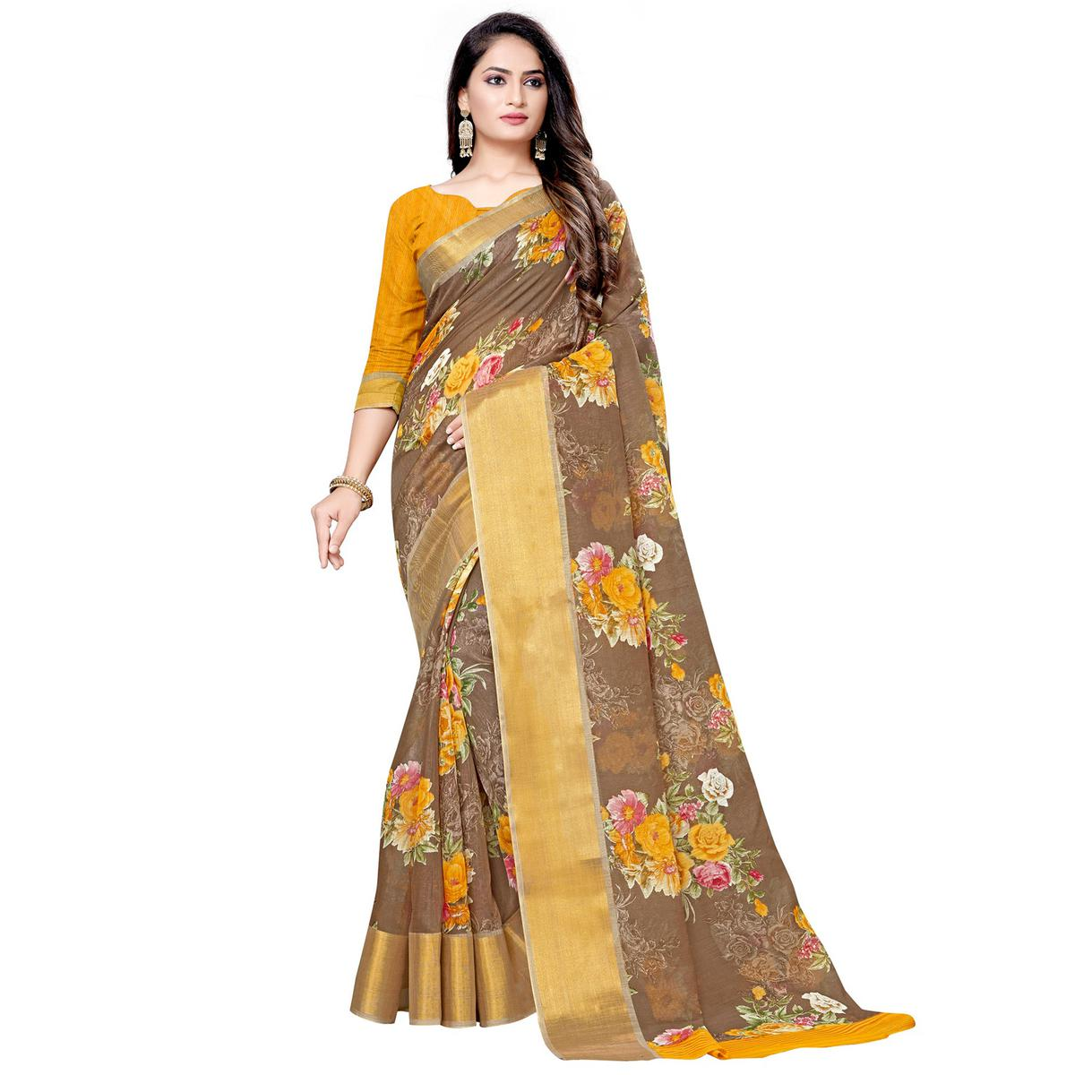 Eye-catching Brown Colored Casual Floral Printed Linen Saree
