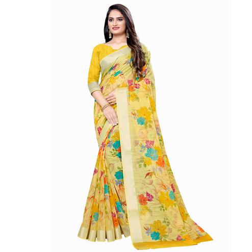Amazing Yellow Colored Casual Floral Printed Linen Saree