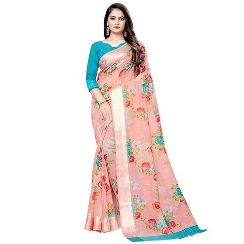 Gorgeous Peach Colored Casual Floral Printed Linen Saree