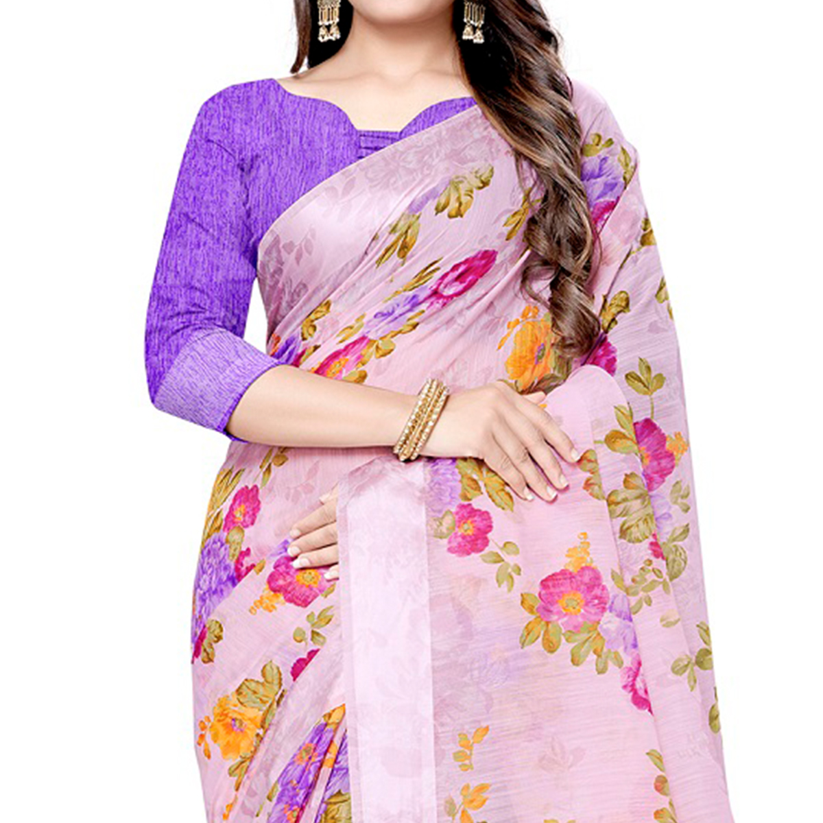 Blissful Pink Colored Casual Floral Printed Linen Saree