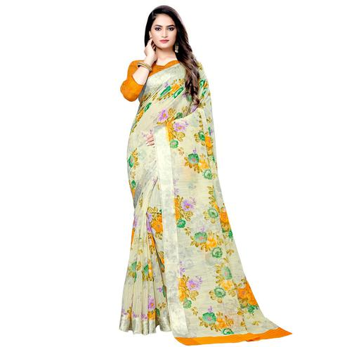 Ideal Light Yellow Colored Casual Floral Printed Linen Saree