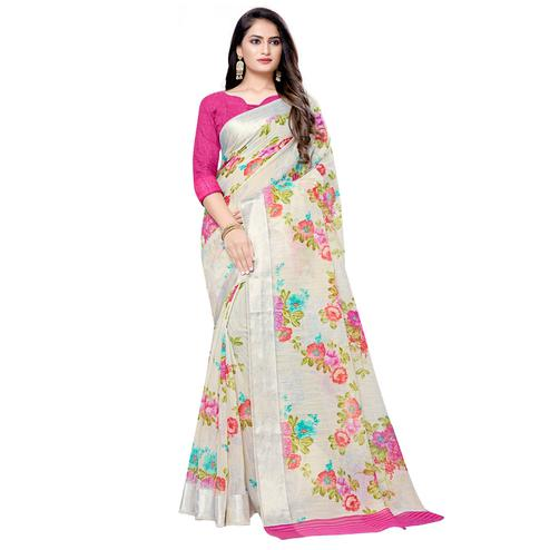 Imposing Cream Colored Casual Floral Printed Linen Saree