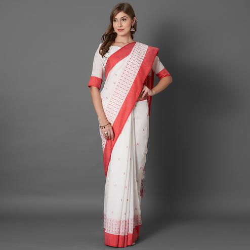 Lovely White Colored Casual Embroidered linen Saree