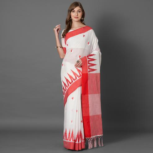 Majesty White Colored Casual Embroidered linen Saree