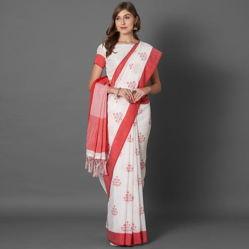 Mesmerising White Colored Casual Embroidered linen Saree