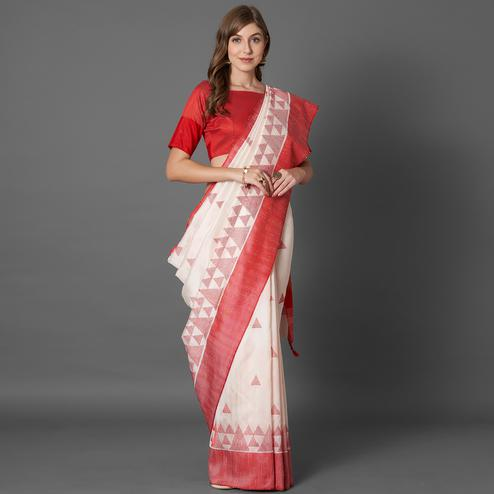 Breathtaking White Colored Casual Embroidered linen Saree