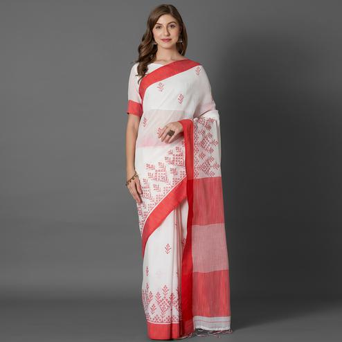 Ethnic White Colored Casual Embroidered linen Saree