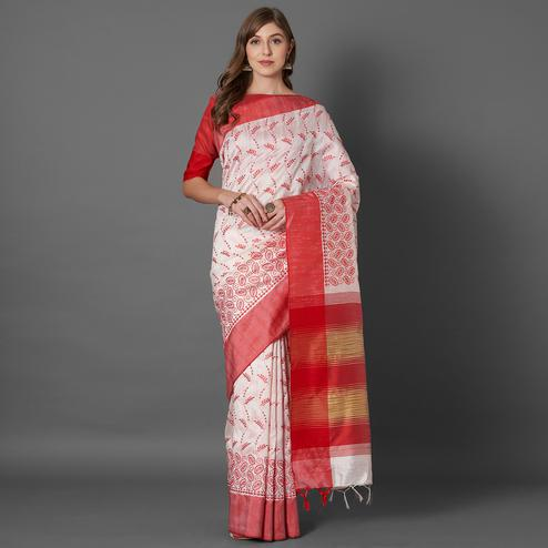 Ravishing White Colored Casual Embroidered linen Saree