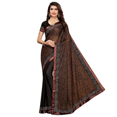 Majesty Coffee Brown Colored Casual Wear Printed  Lycra Saree