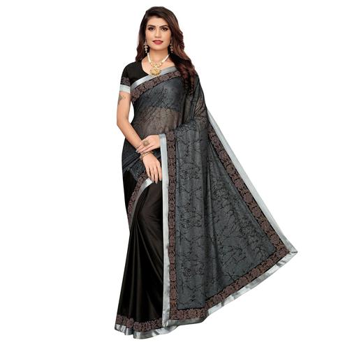 Mesmerising Grey Colored Casual Wear Printed Lycra Saree
